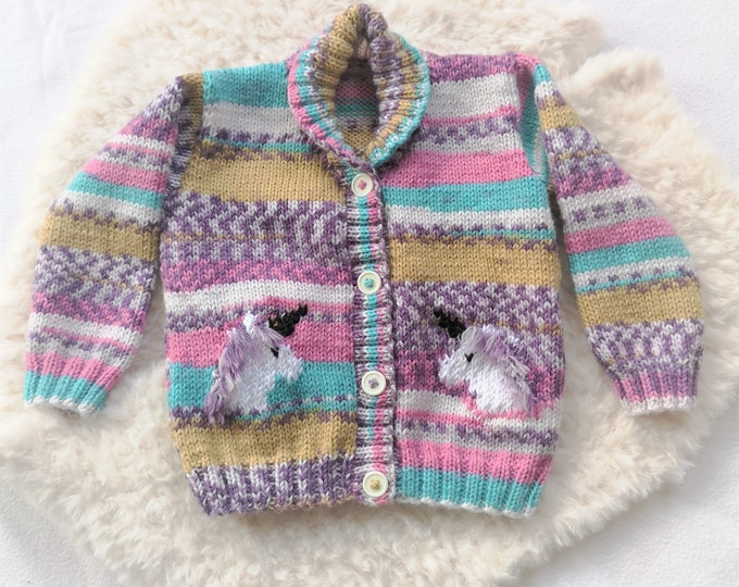 Knitting Pattern for Child's Unicorn Cardigan, Unicorn Jacket and Hat for Boy or Girl 1 to 7 years, Double Knitting, 8 ply, Digital Patterns