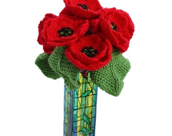 Knitting Pattern for poppies,  full stem poppies, knitted flowers,  floral display, knitted pansy, flower gift, knitted leaves