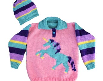 Unicorn sweater and hat knitting pattern. Ages 2 to 10 years.  Aran/Worsted (10 ply) yarn