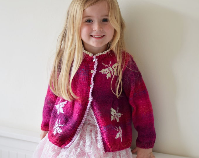Knitting Pattern for Child's Jacket with Butterflies, Cardigan with Butterflies Knitting Pattern, Butterfly design, Girls knitting pattern
