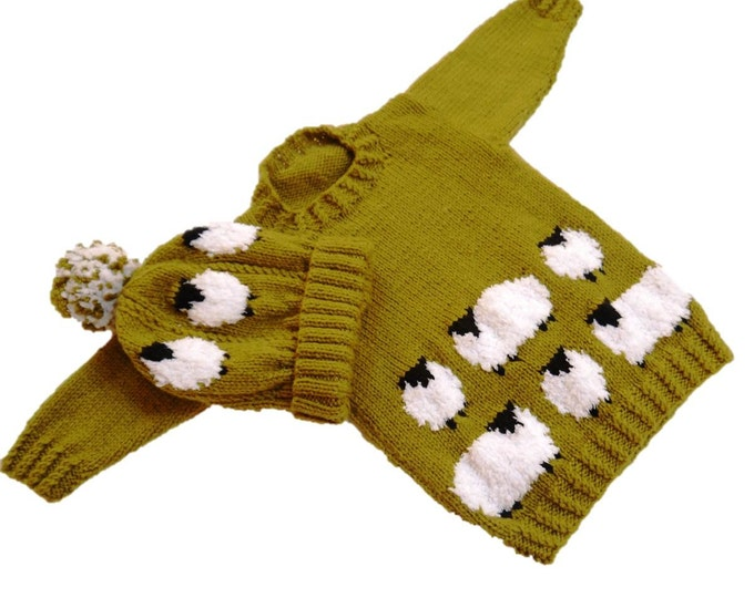 Knitting Pattern for Sheep Child's Sweater and Hat,  Sheep Jumper and Hat Knitting Pattern, Aran Sheep Knitting Pattern, Hat Sheep Pattern