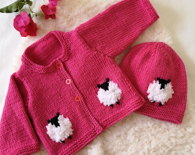 Knitting Pattern for Baby Sheep Cardigan and Hat, Sheep Jacket and Hat for Boy or Girl, Sheep Jacket and Hat in DK Digital Knitting Patterns