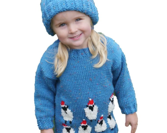 Knitting Pattern for Sheep Child Sweater and Hat Aran,  Christmas Sweater Hat Knitting Pattern, Aran Sheep Knitting Pattern, Xmas Pattern