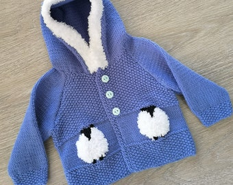 Knitting Pattern for Child's Sheep Hoodie, Sheep Hoodie for Boy or Girl, Sheep Jacket with Hood in DK, Digital Patterns birth to 8 years