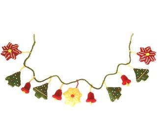 Knitting Pattern for Christmas Garland,  Christmas Trees, Stars, Bells, Xmas Decorations, Festive Handmade Fireplace Garland, download pdf
