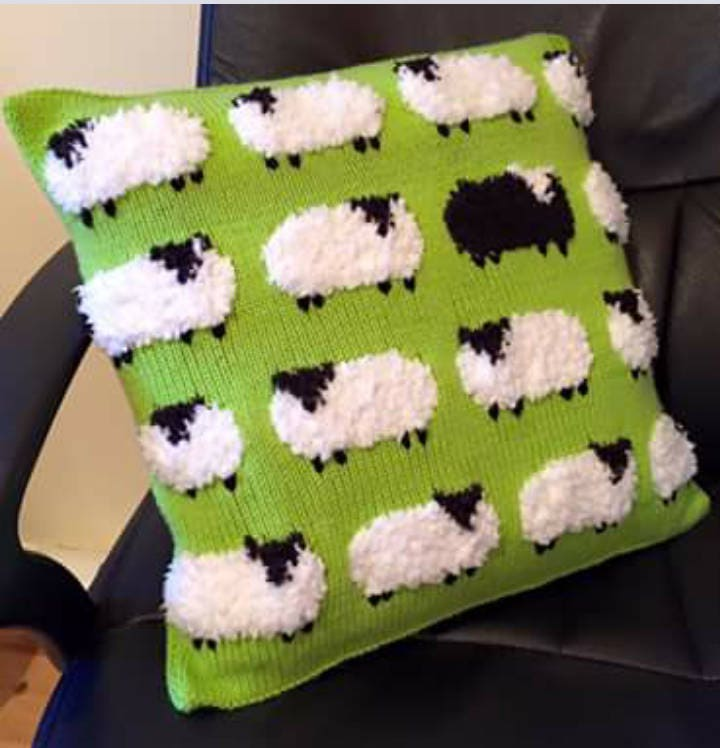 Sheep Cushion Knitting Pattern Pillow Knitting Pattern With Sheep