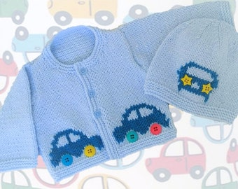 Knitting Pattern for Baby Car Cardigan and Hat, Car Jacket and Hat for Boy or Girl, Car Jacket and Hat in DK, PDF Digital Knitting Patterns