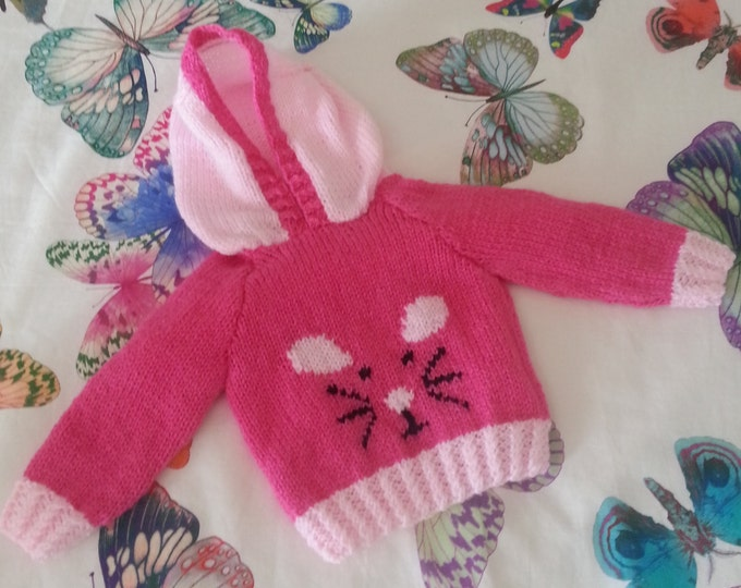 Knitting Pattern for Child's Mouse Sweater, Hoodie with Mouse Knitting Pattern, Baby hoodie sweater, Knitted mouse jumper, Digital Download