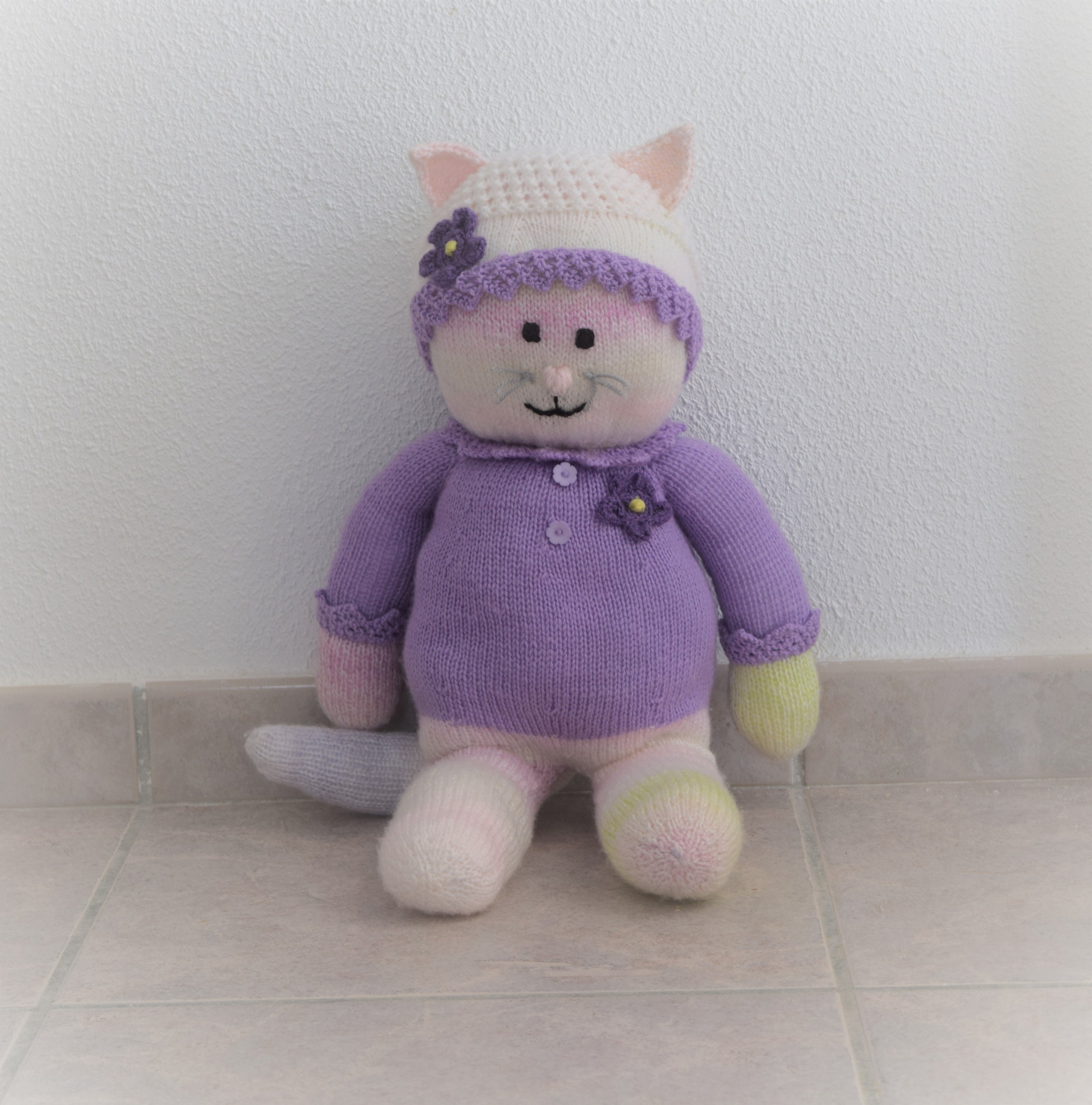 48980d195 Girl Cat knitting pattern Stuffed animal toy Handmade soft