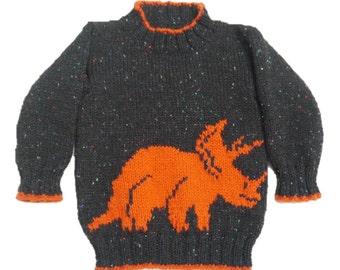 Knitting Pattern for Dinosaur Child's Sweater and Hat - Triceratops,  Dinosaur Sweater and Hat I Pattern, Dinosaur Knitting Pattern