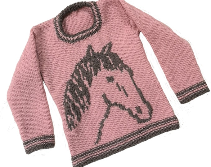 Knitting Pattern for Sweater with a Horse, Pony Jumper Knitting Pattern for Boy and Girl in DK wool, Horse Intarsia Chart, Digital Download