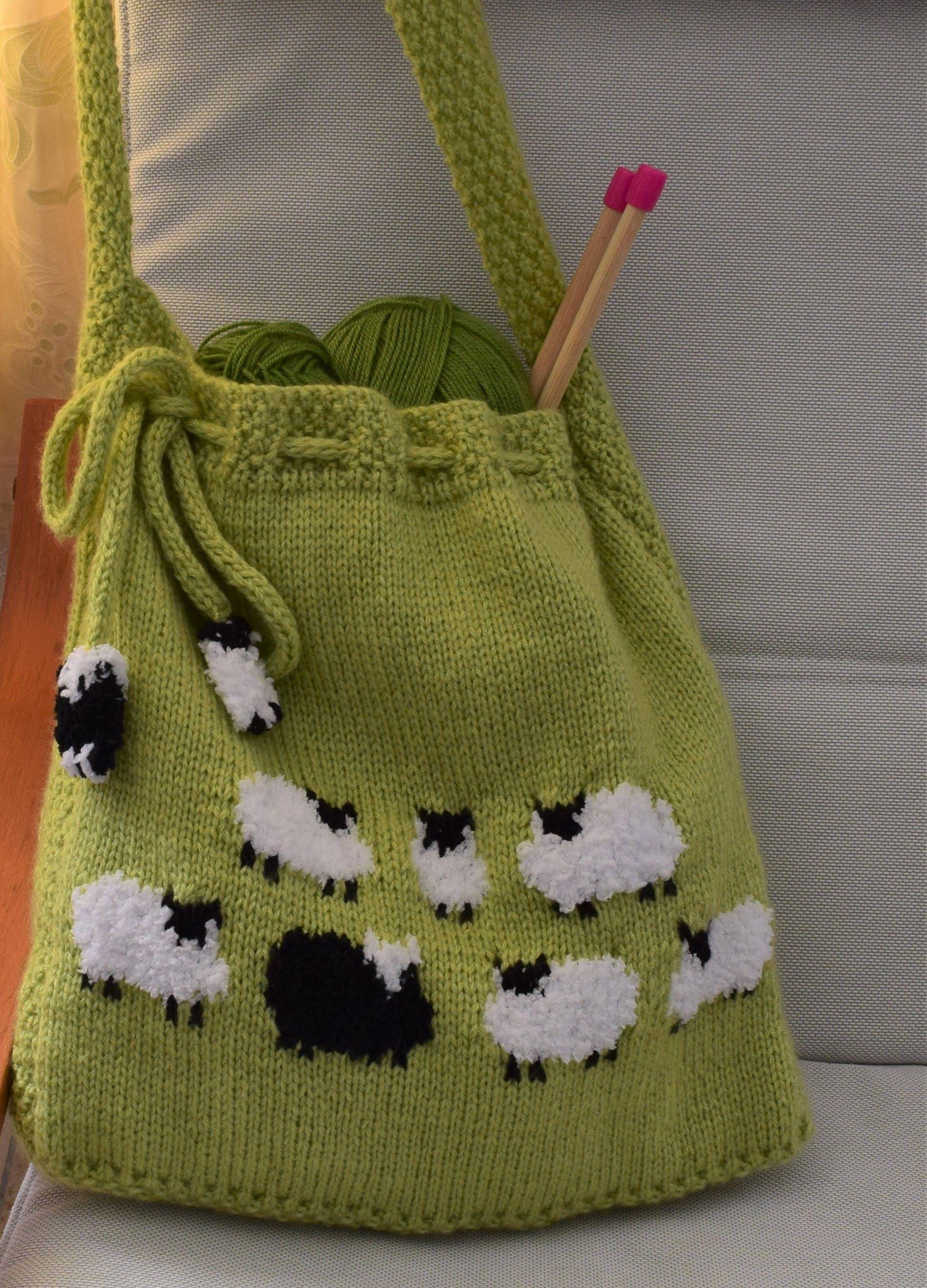Bag Knitting Pattern, Knitting bag Pattern, Handmade Tote Bag, Sheep ...
