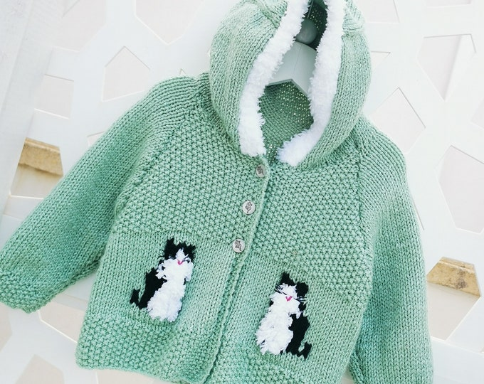 Knitting Pattern for Child's Cat Hoodie, Front Fastening Cat Hoodie for Boy or Girl, Cat Jacket with Hood in DK, Digital Birth to 8 years