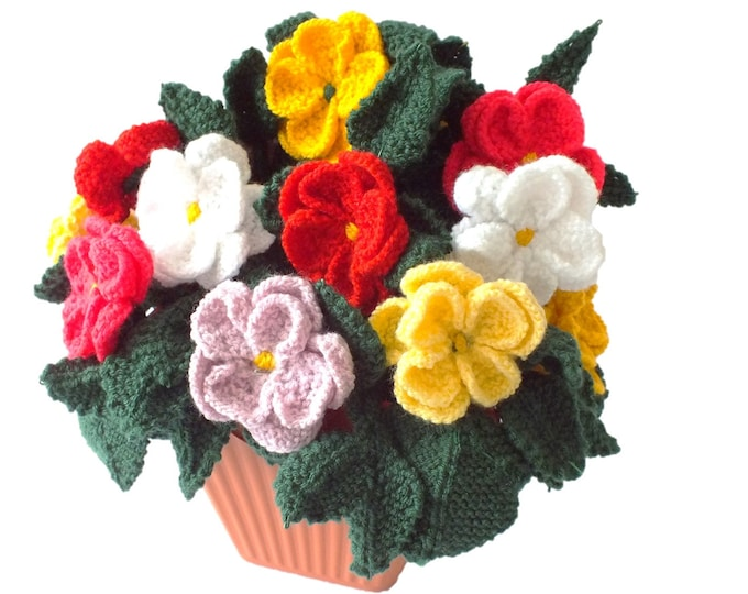 Pot of knitted dahlias, knitting pattern for dahlias, knitted flowers,  floral display, flower display, flower gift, flower knitting pattern