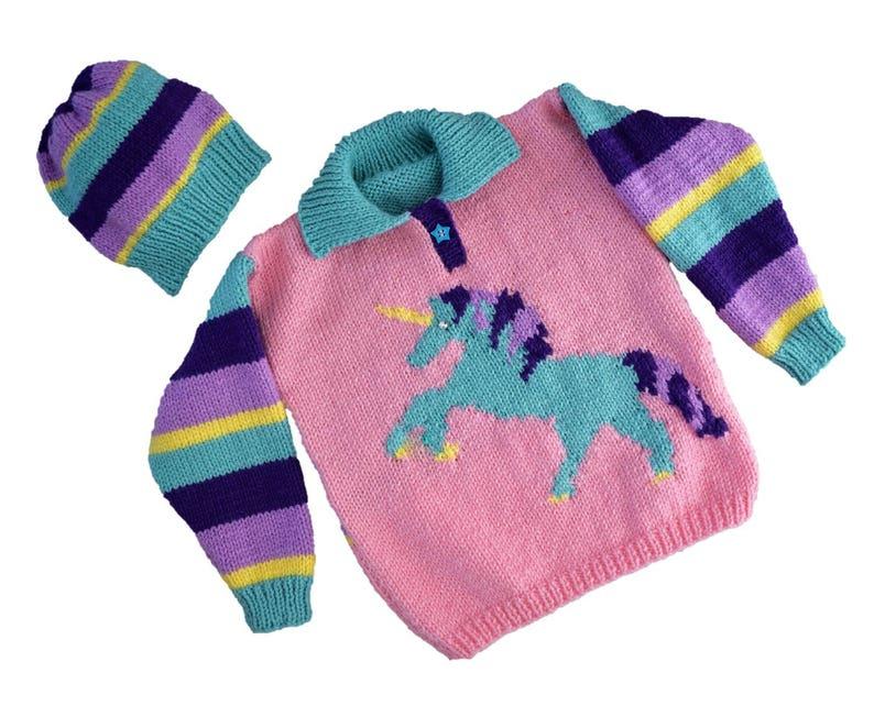 Aran Knitting pattern for girls Unicorn Sweater and Hat   Etsy