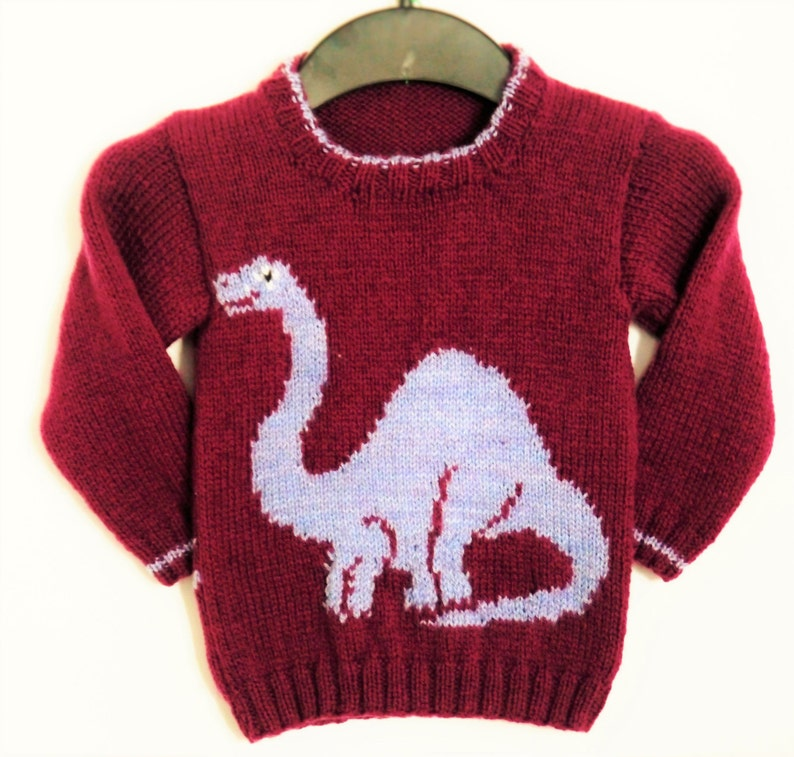 cdffca21865a7 Knitting Pattern for Sweater with Dinosaur Jumper Knitting