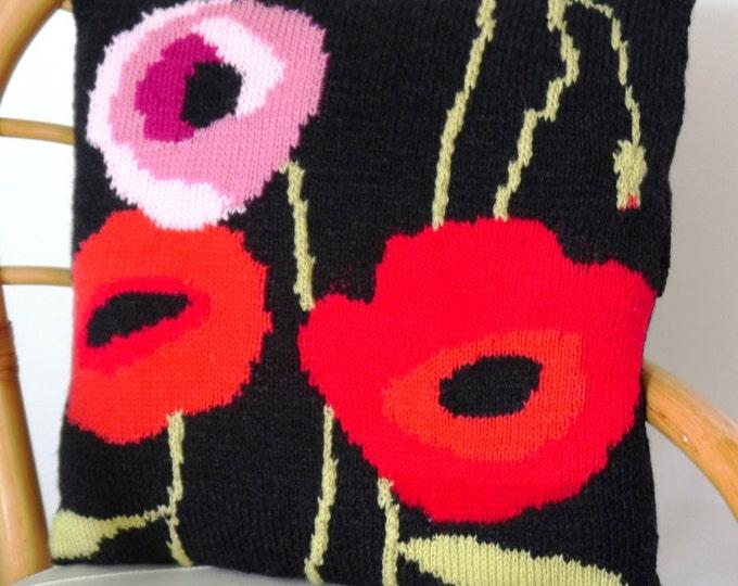 Knitting Pattern for Poppy Cushion, Pillow Knitting Pattern with Poppies, Poppy Pillow Knitting Pattern, pdf download for Poppy Pattern
