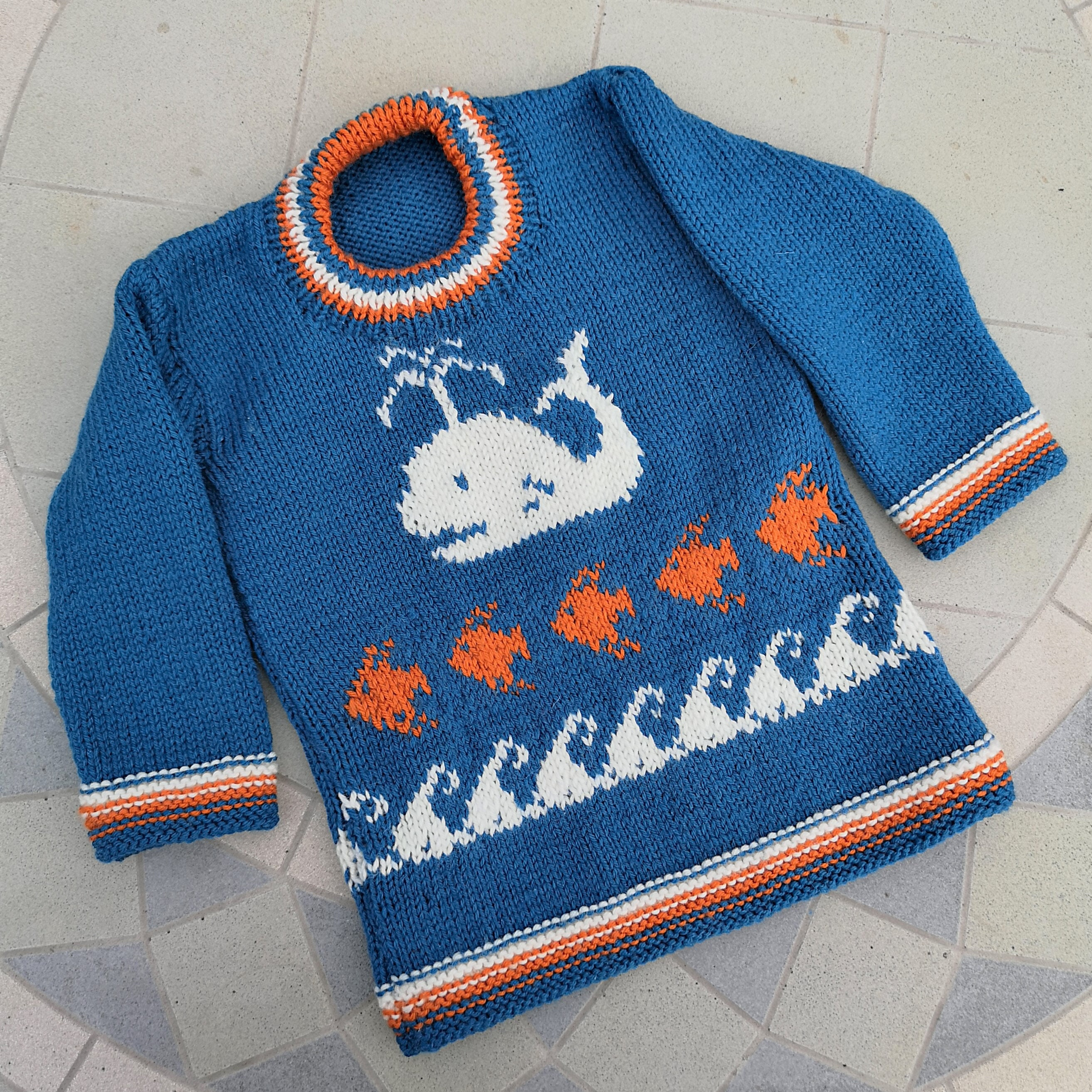 Hand knitted Whale Sweater for age 2 3 years, child's