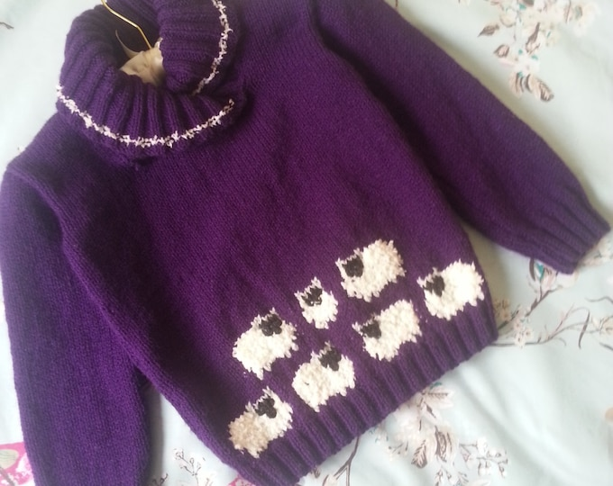 Knitting Pattern for Sheep Sweater, Double Knitting Sweater with Sheep for children,  Child's jumper featuring sheep for girls and boys