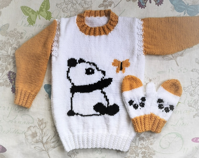 Aran Knitting pattern for girls with Panda and Butterfly Sweater and Mittens, Panda Jumper, Intarsia Picture Gloves, pdf digital download