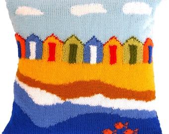 Knitting Pattern for Beach Huts Cushion, Pillow Knitting Pattern with Beach Huts, Seaside Pillow Knitting Pattern, Beach Huts Cushion