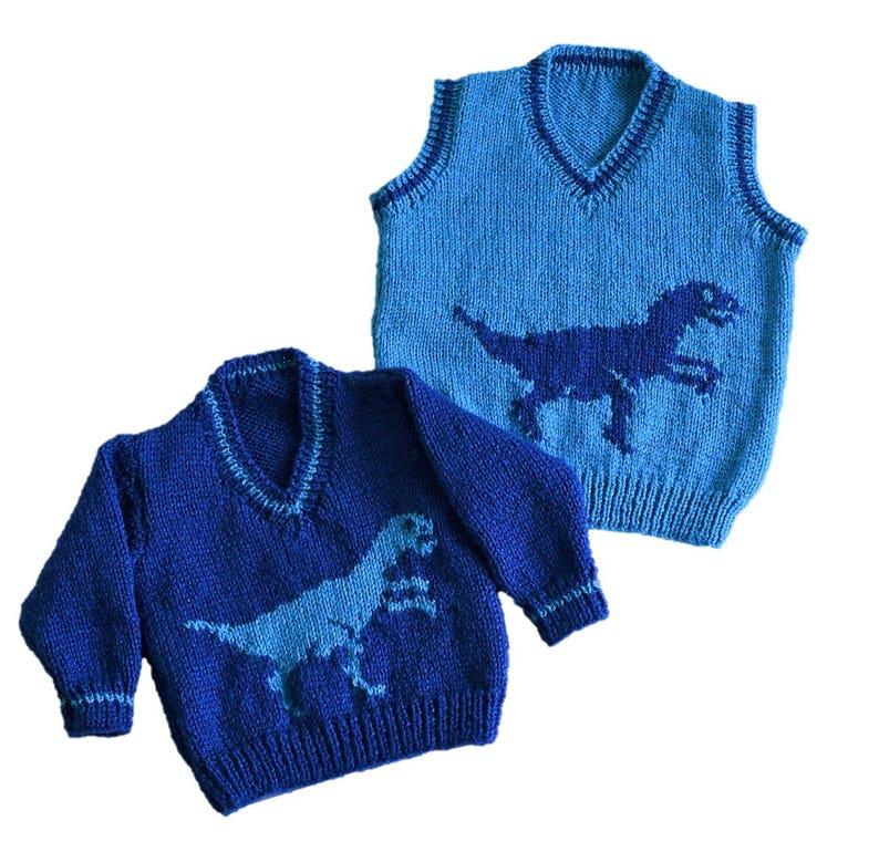 dfcdfa8d17e35 Knitting pattern for boys and girls dinosaur V-neck tops Pdf