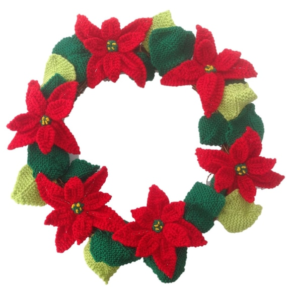 Knitted Poinsettia Christmas Wreath Knitting Pattern For Etsy