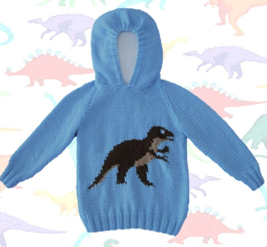 Knitting pattern for Dinosaur Child's Hoodie,Tyrannosaurus ...