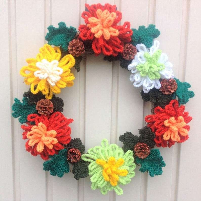 Knitted Christmas Wreath Xmas Knitting Pattern Christmas Etsy