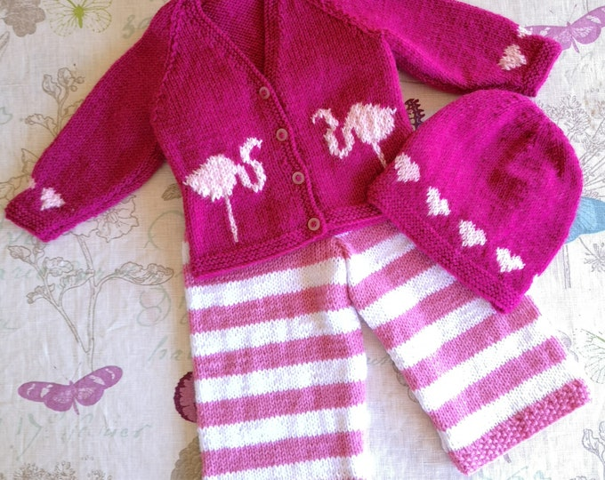 Knitting Pattern for Flamingo Baby sweater trousers and hat, Flamingo outfit for Boys Girls, Hearts knitting pattern for babies and toddlers