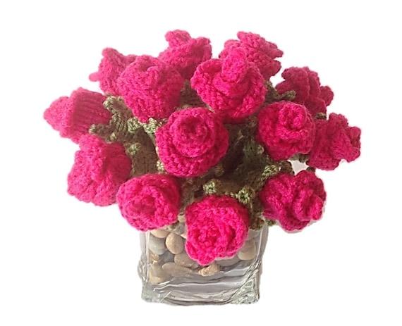 Knitting Pattern For Roses Knitted Rose Buds Flower Knitting Etsy