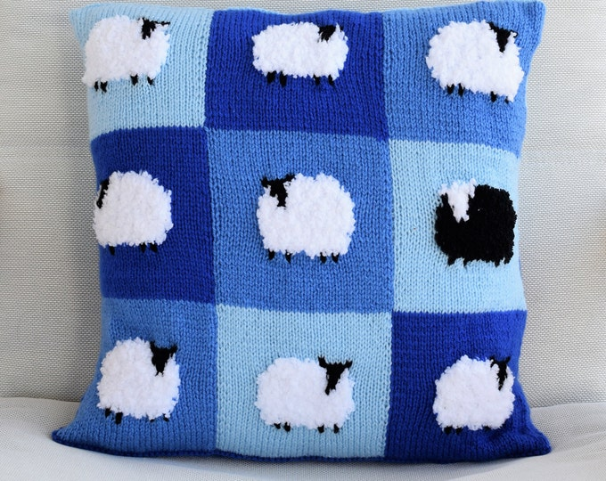 Knitting Pattern for Sheep Cushion in Patchwork, Pillow Knitting Pattern with Sheep, Flock of Sheep Knitting Pattern, Digital download pdf