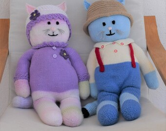 Boy and Girl Cat knitting pattern, Stuffed animal toys, Handmade soft toys, Handmade cats, Knitted cats, Knitting pattern for baby toys