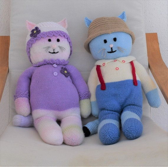 Boy And Girl Cat Knitting Pattern Knitted Animal Toys Etsy