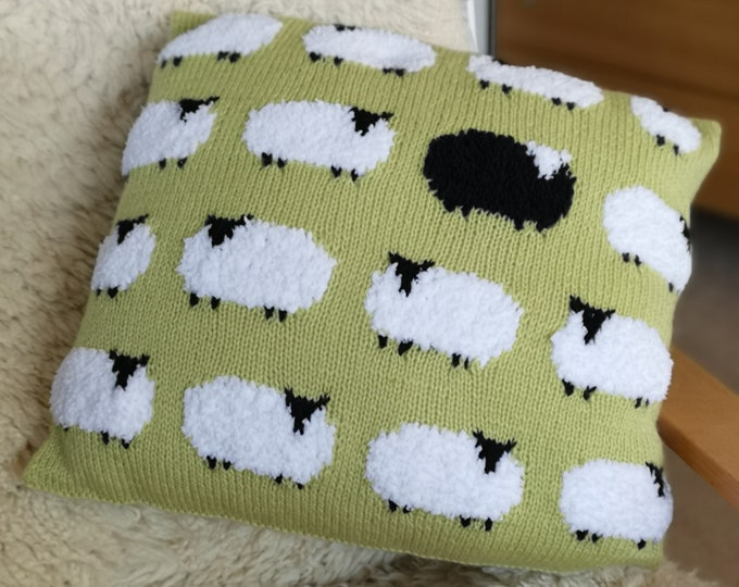 Knitting Pattern for Sheep Cushion, Pillow with Sheep, Flock of Sheep with one Black Sheep Knitting Pattern, pdf download sheep