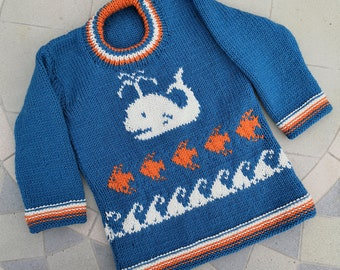 Whale, fish and waves sweater knitting pattern. Ages 2 - 7 years.  Double knitting (8 ply) yarn.