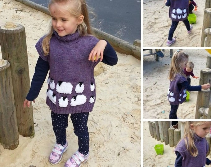 Knitting Pattern for Sheep Tunic, Sweater and Hat with Sheep for children, ages 2-10 years, Child's sheep tabard and hat knitting pattern