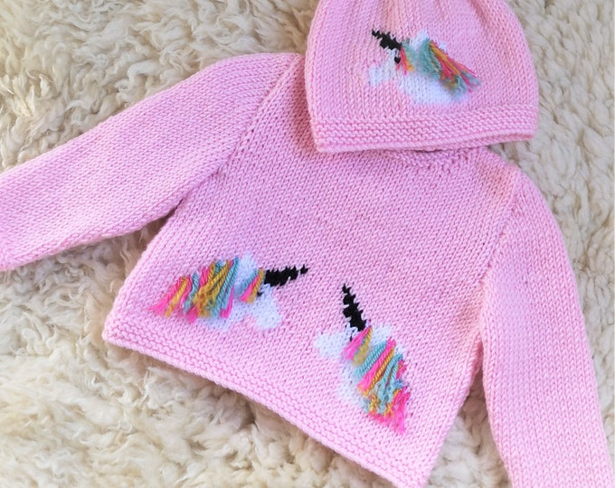 Knitting Pattern for Baby Unicorn Sweater and Hat, Unicorn Jumper and Hat for Boy or Girl, Double Knitting, 8 ply, Digital Patterns