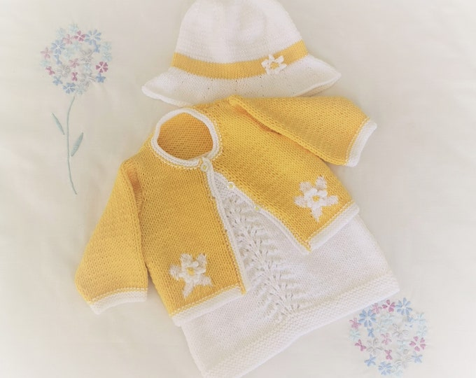 Knitting Pattern - Baby Lace Dress and Shrug, Knitting Patterns for Baby Girls and Toddlers, Double Knitting Baby Jacket and Dress Outfit