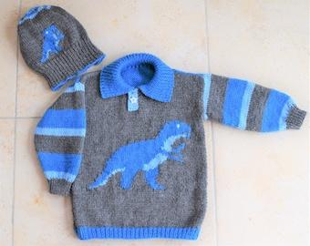 Knitting Pattern for Dinosaur Child's Sweater and Hat - Tyrannosaurus,  Dinosaur Sweater and Hat Knitting Pattern, T Rex Knitting Pattern