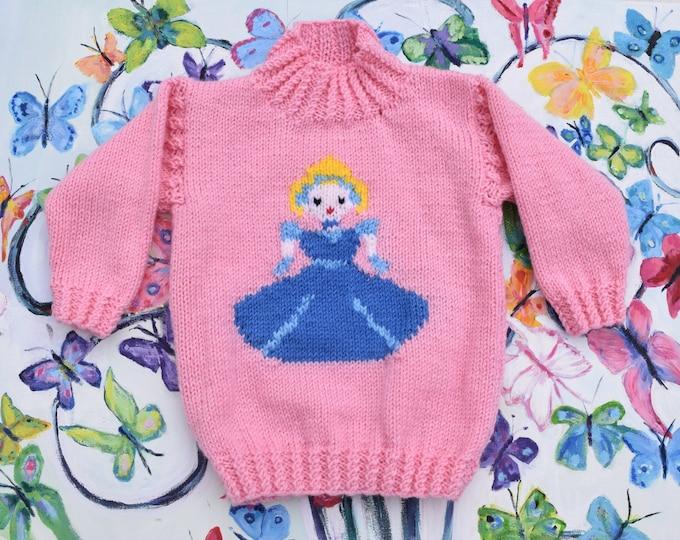Knitting Pattern - Cinderella, Princess sweater & crown, Aran girls sweater knitting pattern,  girls jumper,  Fairytale, Cinderella pattern