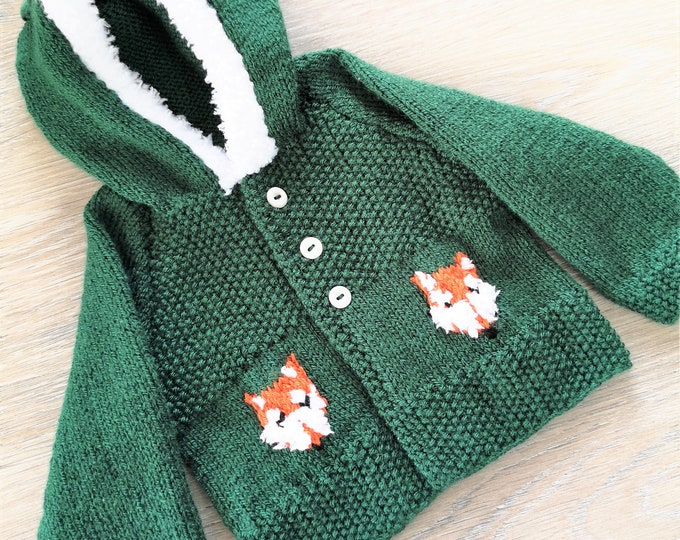 Knitting Pattern for Child's Fox Hoodie, Front Fastening Fox Hoodie for Boy or Girl, Fox Jacket with Hood in DK, Digital Birth to 8 years