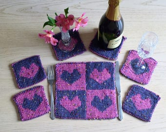 Knitting pattern for coasters, Heart coasters and place setting pattern, knitting pattern table mat and coasters, handmade knitted gift