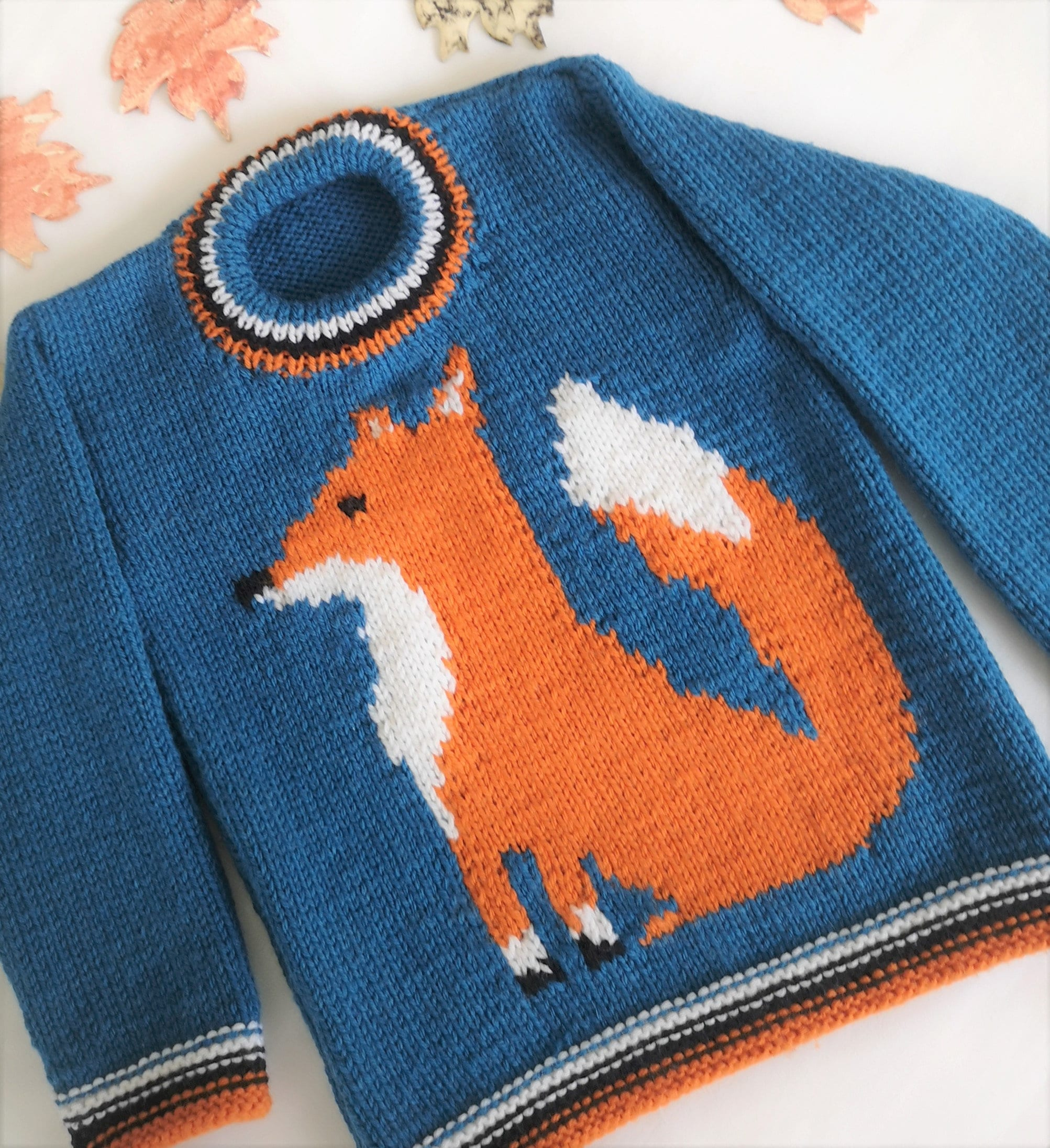 Knitting Pattern for Sweater with a Fox, Fox Jumper ...