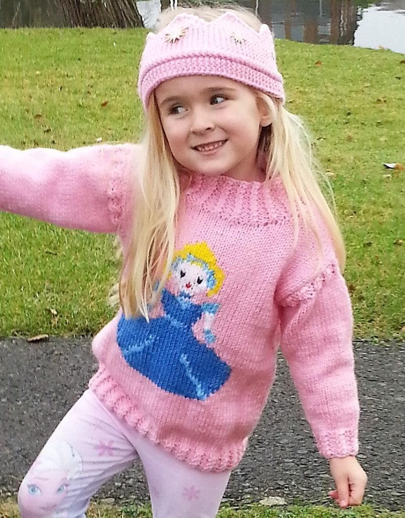 Cinderella Knitting Pattern Princess Sweater And Crown Aran Girls