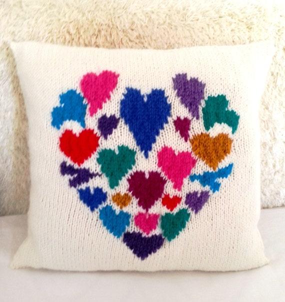 Heart Pillow Knitting Pattern Hearts Cushion Knitting Pattern Pdf