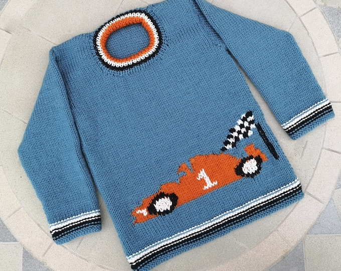Knitting Pattern for Sweater with a Racing Car, Formula 1 Jumper Knitting Pattern for Boy and Girl in DK wool, Digital Download, PDF pattern