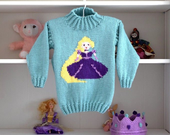 Aran Knitting pattern for girls, Princess sweater and crown, Rapunzel Sweater, Girls knitted sweater, Fairytale sweater, Rapunzel Jumper