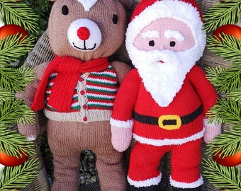 Knitting Pattern - Santa and Rudolph, Knitted Christmas toys, Handmade soft toys, Red-nosed reindeer, Knitting patterns for baby toys
