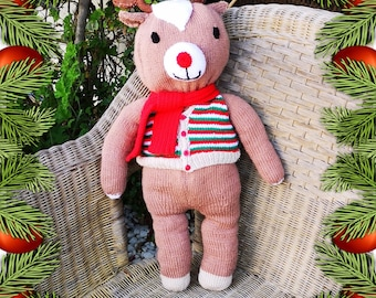 Rudolph Christmas knitting pattern, Knitted Rudolph, Handmade Red Nosed Reindeer, Children's Christmas Knitting, Digital download, PDF